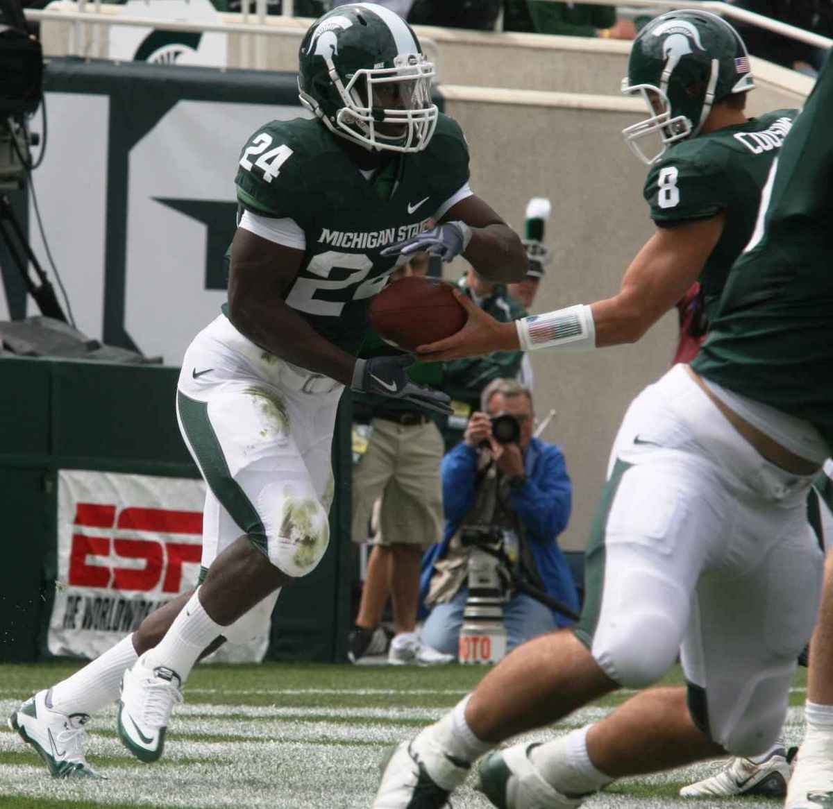 Bell's big first game was a 1st for a Spartan true freshman with 100+yards.  Photo courtesy of Bill Marklevits.