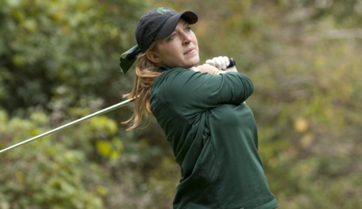 Sophomore Caroline Powers leads MSU by tying for 21st with a 229.  Photo courtesy of MSU SID.