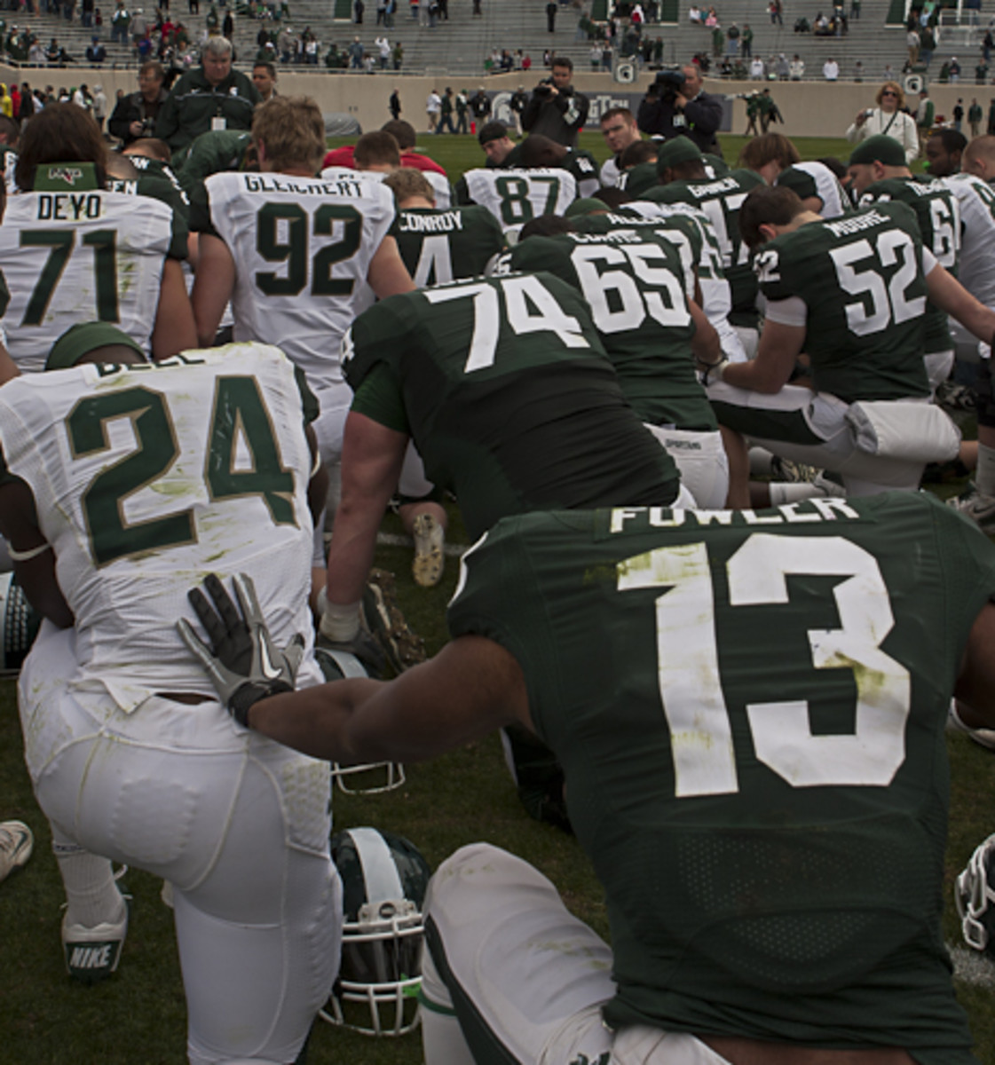 Mark Dantonio's commitment to players and families has helped get MSU football back on a solid foundation.  Photo courtesy of Bill Marklevits.