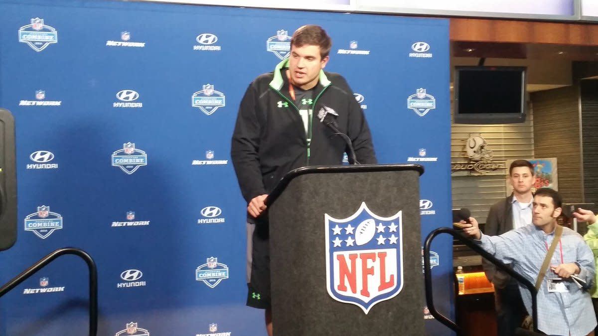 LT Jack Conklin at the 2016 NFL Combine.  Photo courtesy of MSU SID.