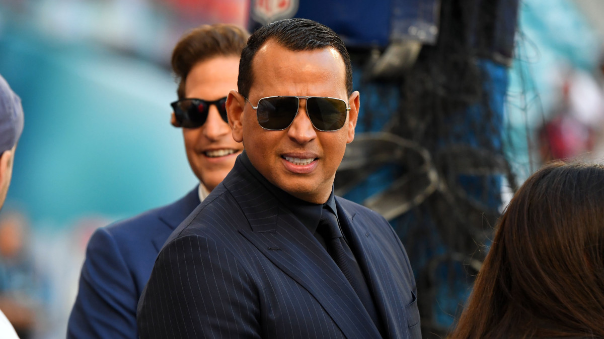 Alex Rodriguez on the sideline at the Super Bowl