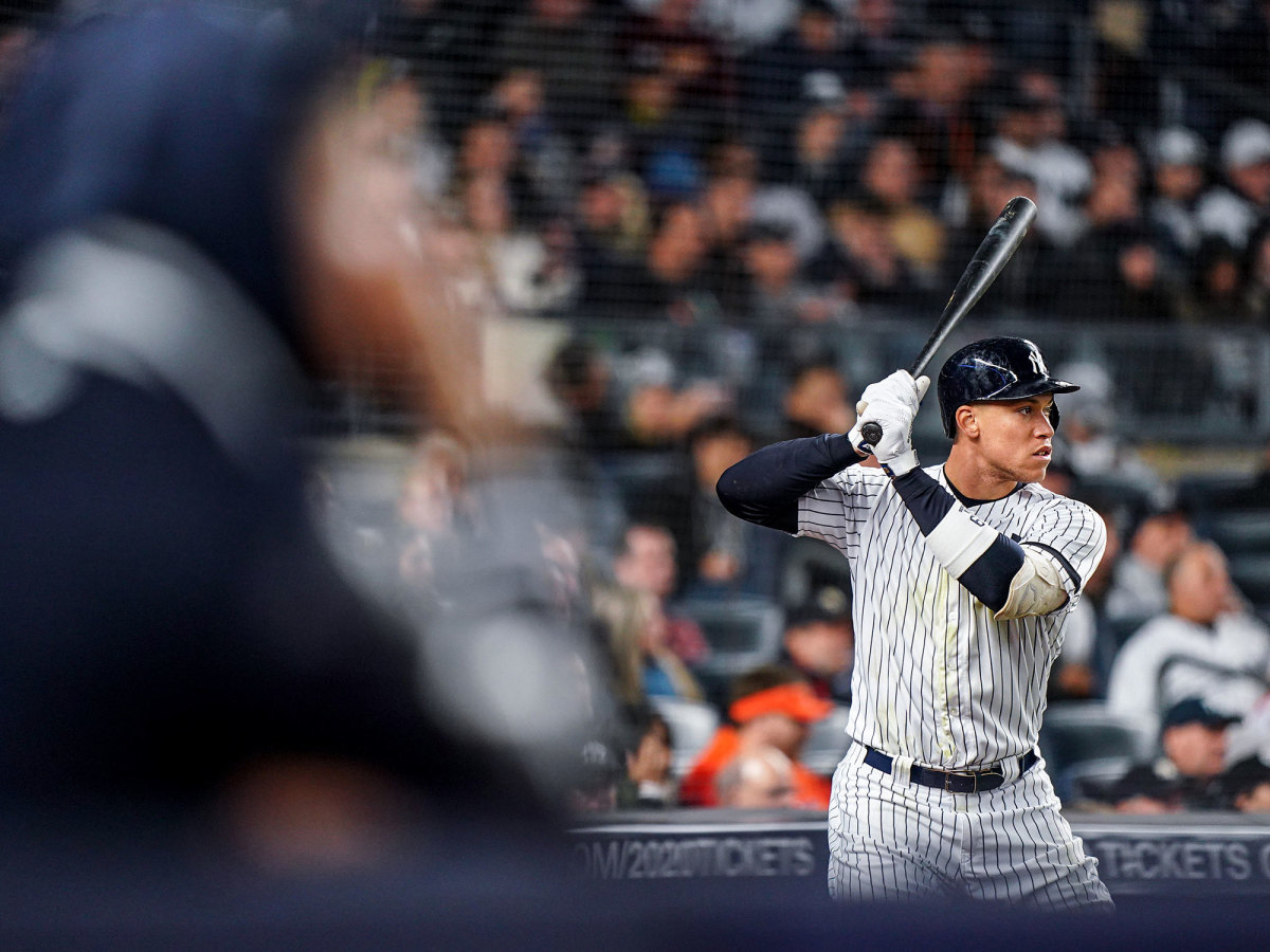 Aaron Judge standing with a bat