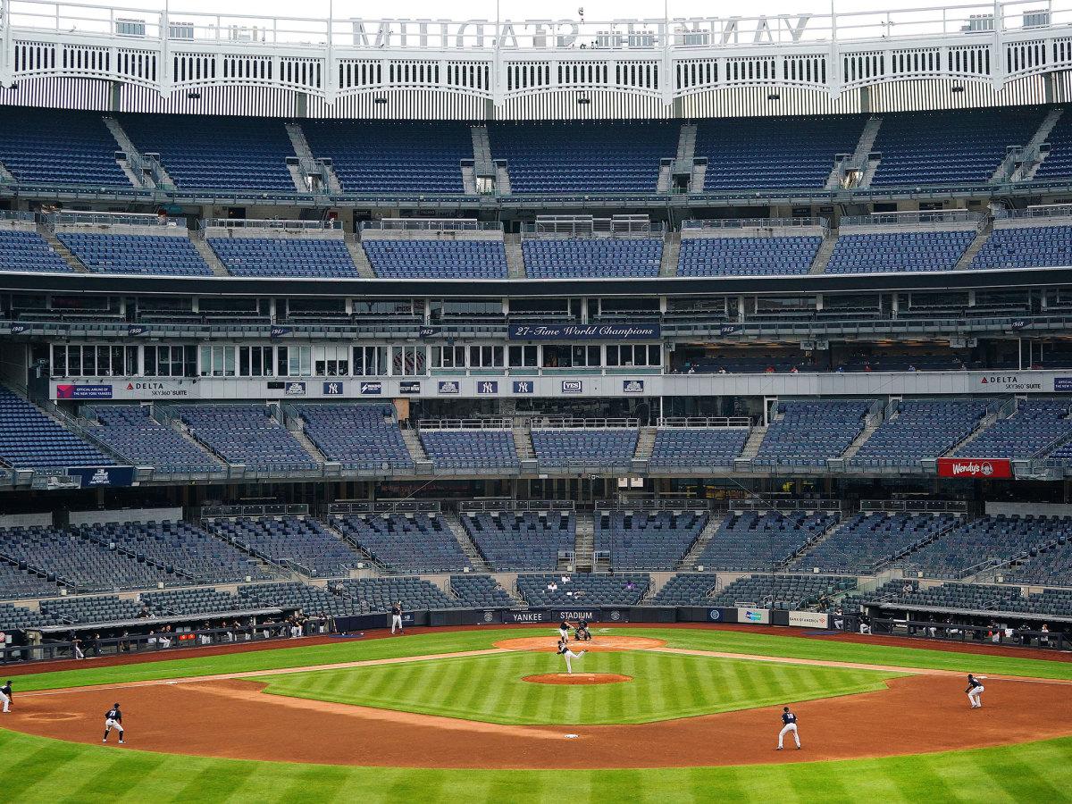 Wide shot of Yankee Stadium
