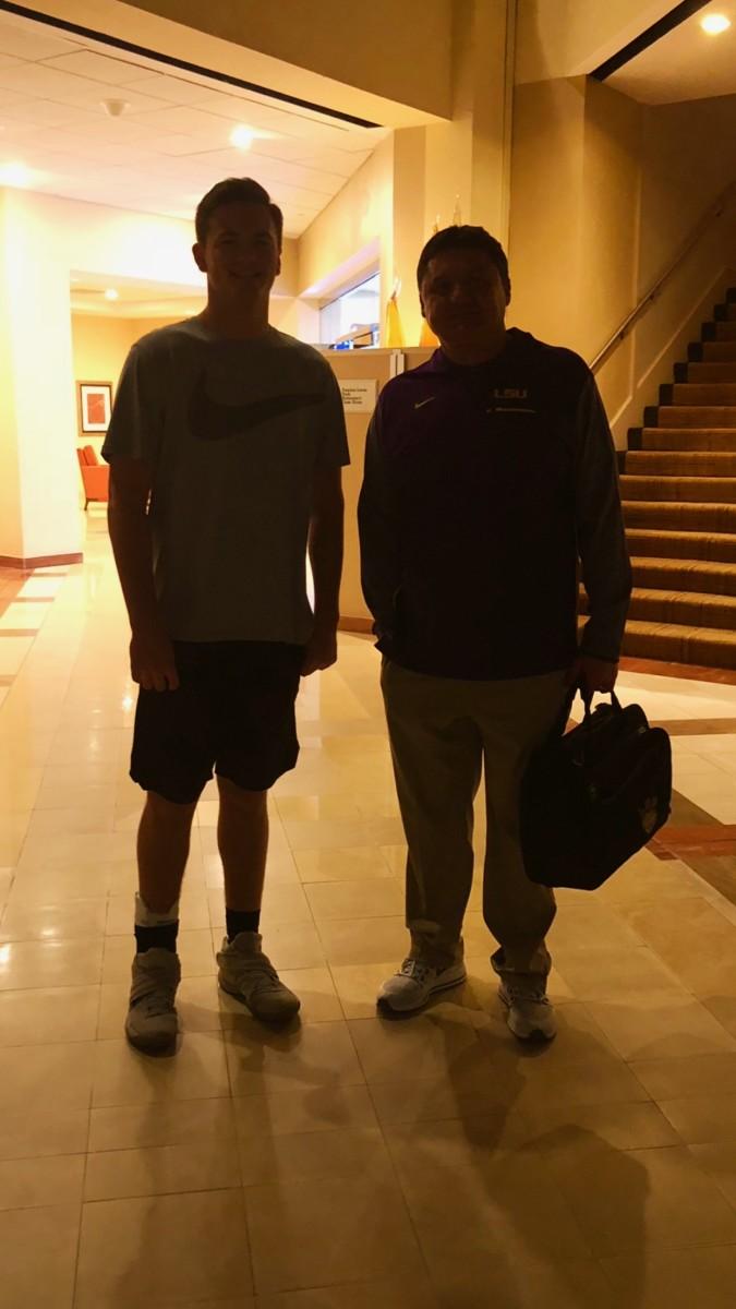 Jack Nickel with LSU coach Ed Orgeron