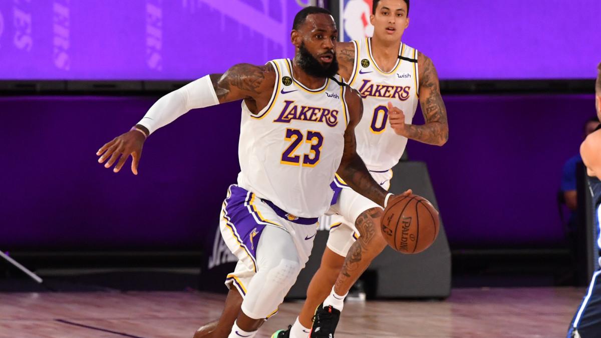 LeBron James drives to the basket