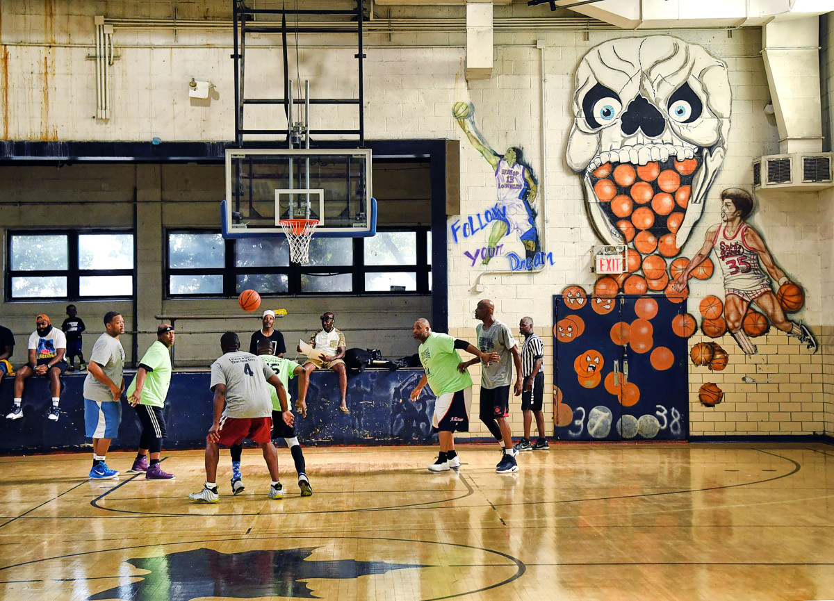 At the Brownsville Rec Center, in 2019, Williams's painted likeness was starting to fade.