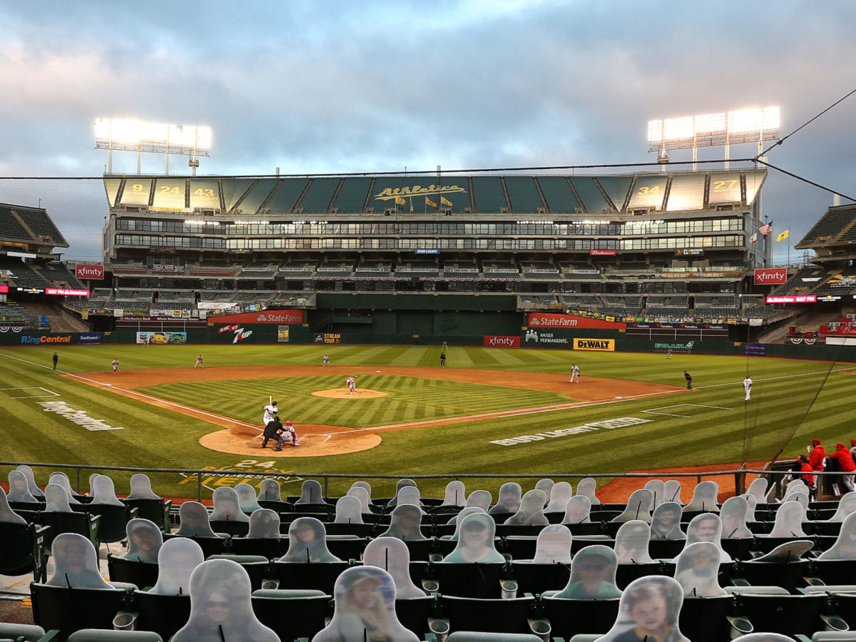 A wide shot of the Oakland Coliseum