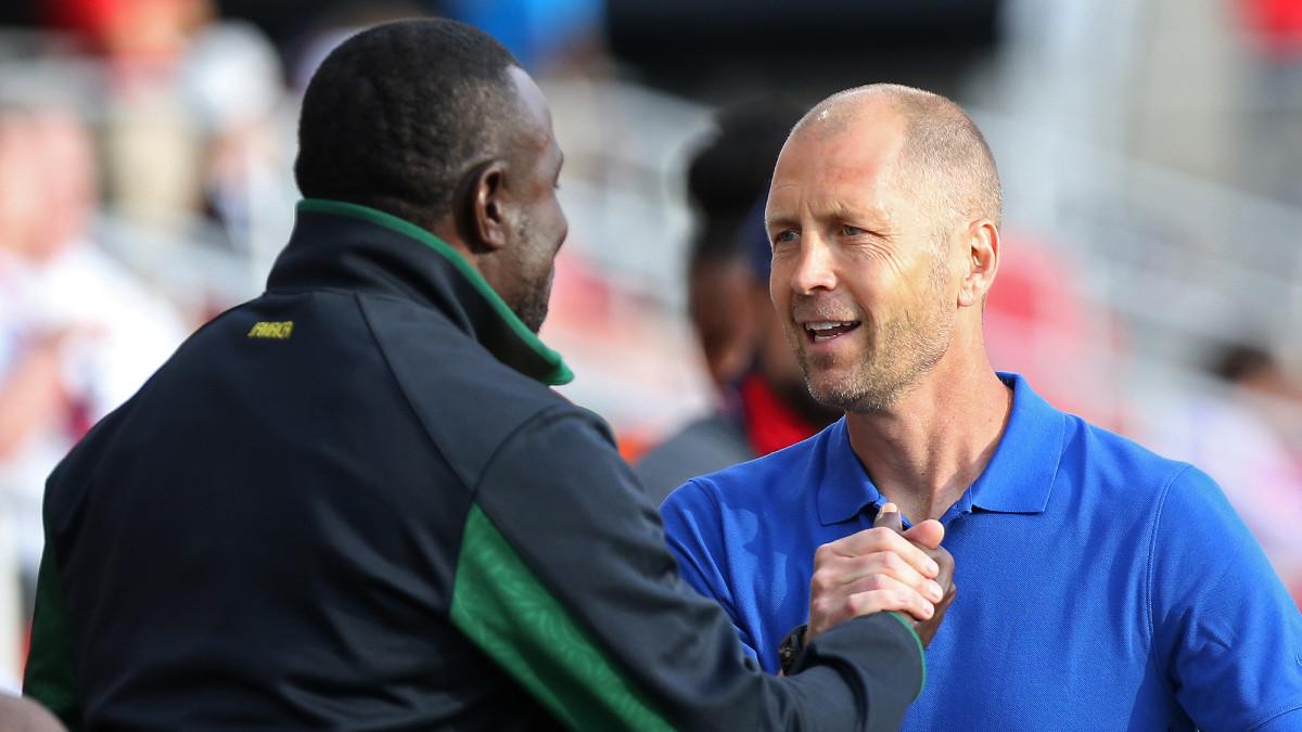 USA coach Gregg Berhalter and Jamaica coach Theodore Whitmore