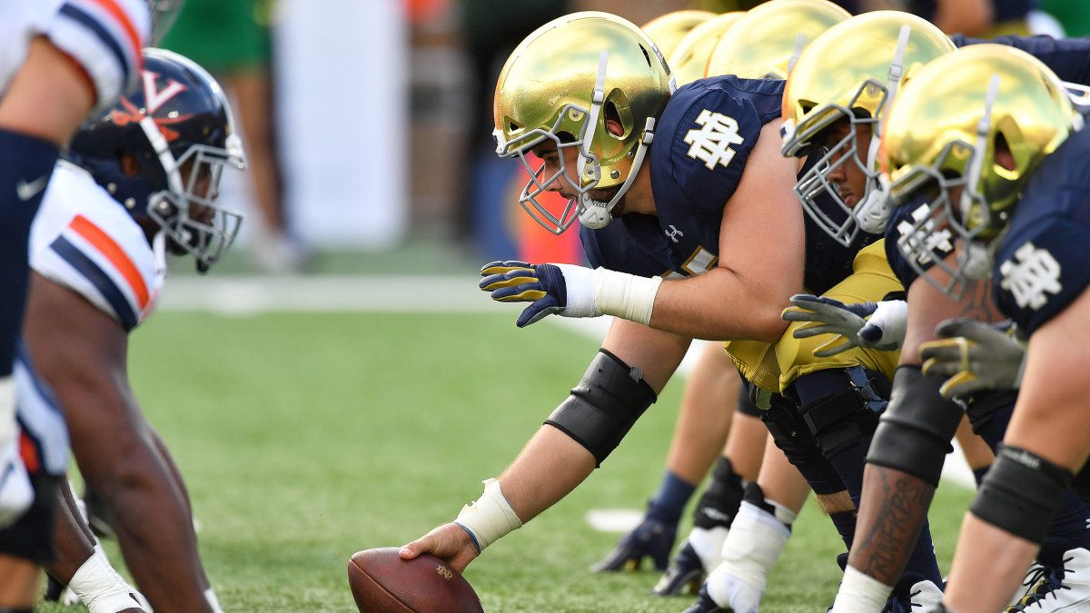 Notre Dame football lines up against Virginia