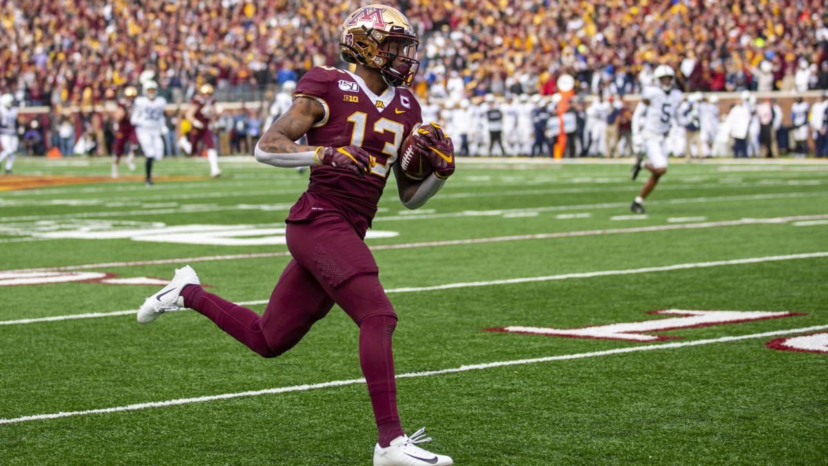 Rashad Bateman scores a touchdown against Penn State.