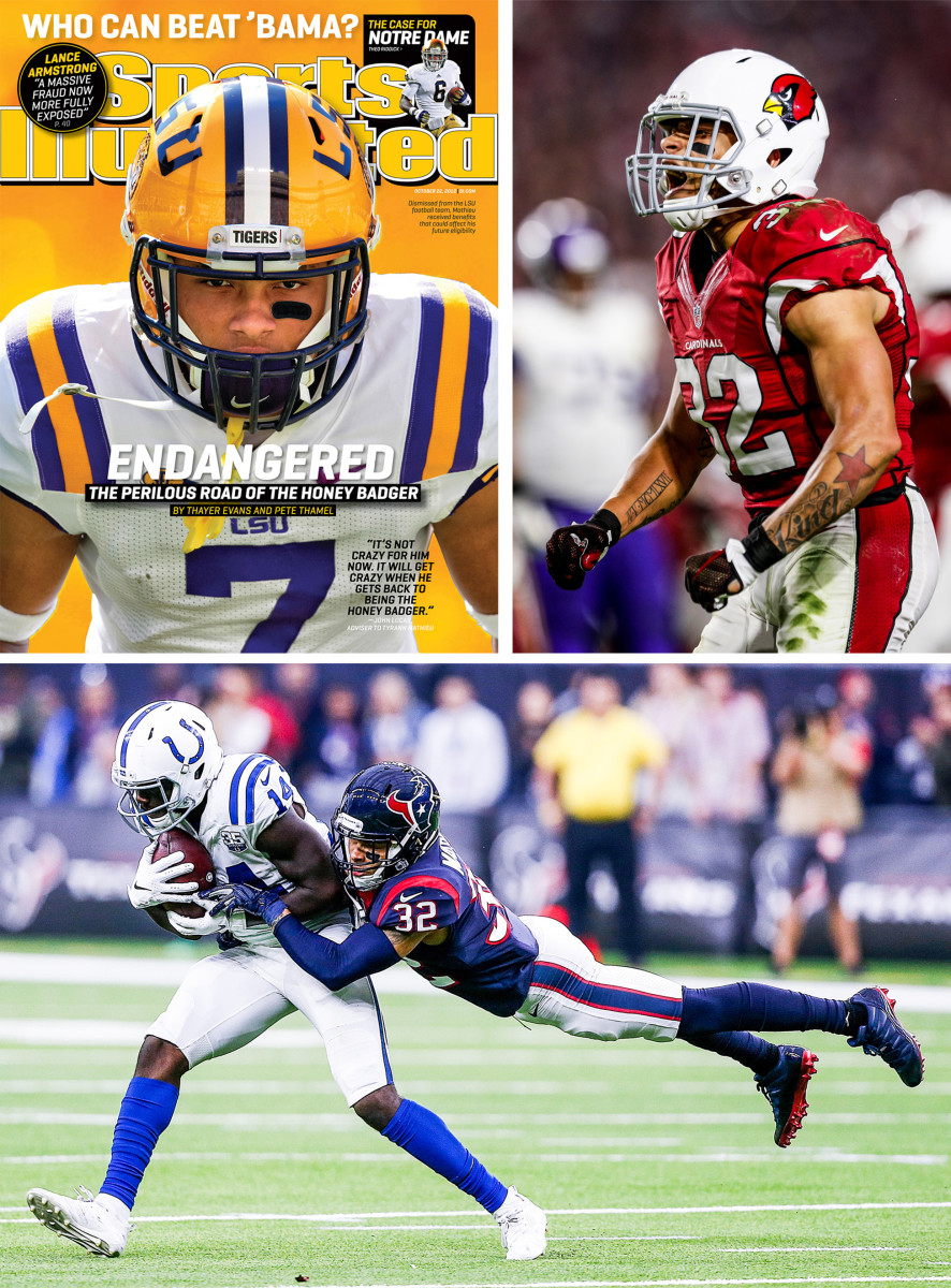 Tyrann Mathieu on the cover of Sports Illustrated while at LSU, then played with the Cardinals and Texans before joining the Chiefs