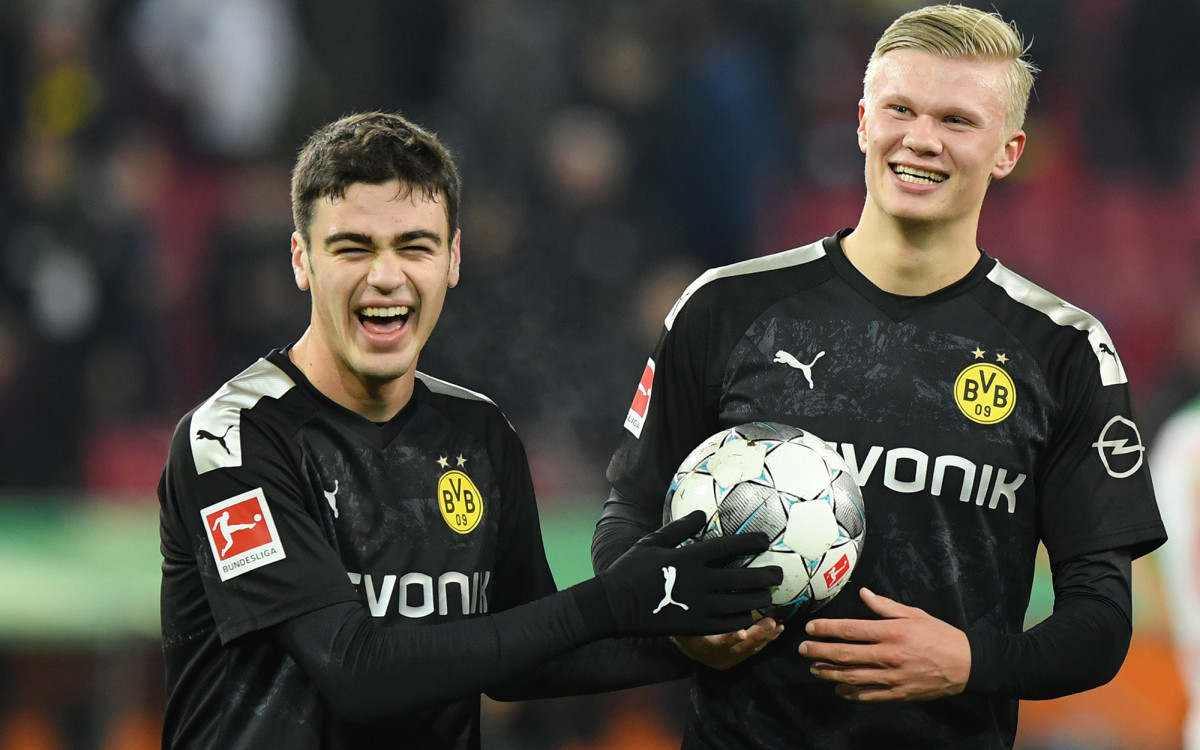 Dortmund's Giovanni Reyna and Erling Haaland