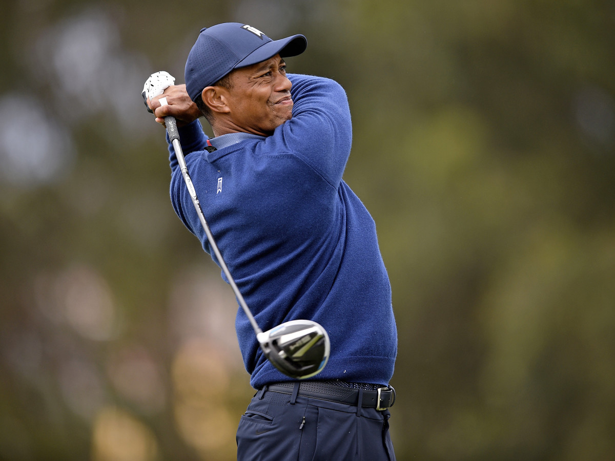 Aug 6, 2020; San Francisco, California, USA; Tiger Woods tees off on the 4th during the first round of the 2020 PGA Championship golf tournament at TPC Harding Park.