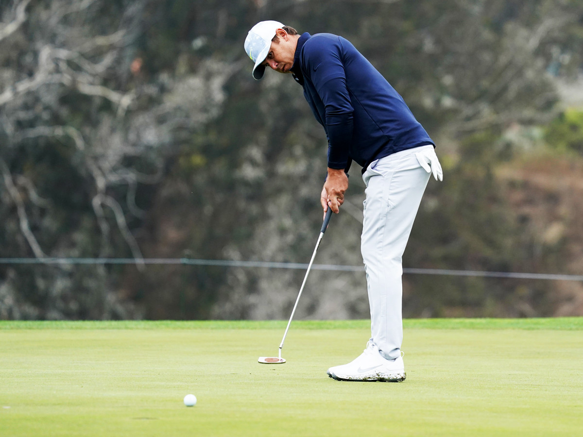 Aug 6, 2020; San Francisco, California, USA; Brooks Koepka on the 10th green during the first round of the 2020 PGA Championship golf tournament at TPC Harding Park.