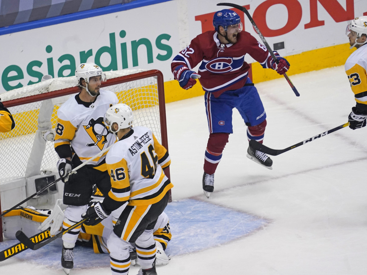 Montreal Canadiens forward Artturi Lehkonen (62) celebrates his game winning goal as Pittsburgh Penguins