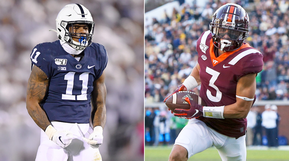 Penn State linebacker Micah Parsons (left) and Virginia Tech defensive back Caleb Farley have both opted out of the 2020 college football season.
