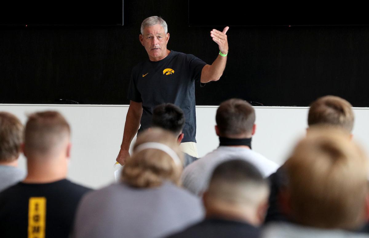Iowa football coach Kirk Ferentz addresses his team on Monday afternoon. (Brian Ray/hawkeyesports.com)