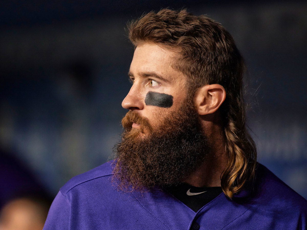 Charlie Blackmon looks off to the side