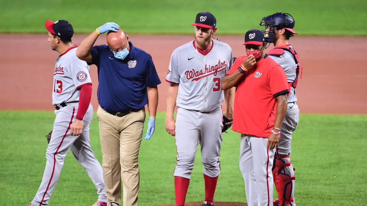 Stephen Strasburg leaves Friday's start with an injury.