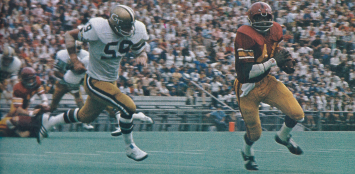 USC running Manfred Moore gains yardage vs. Georgia Tech in 1973.