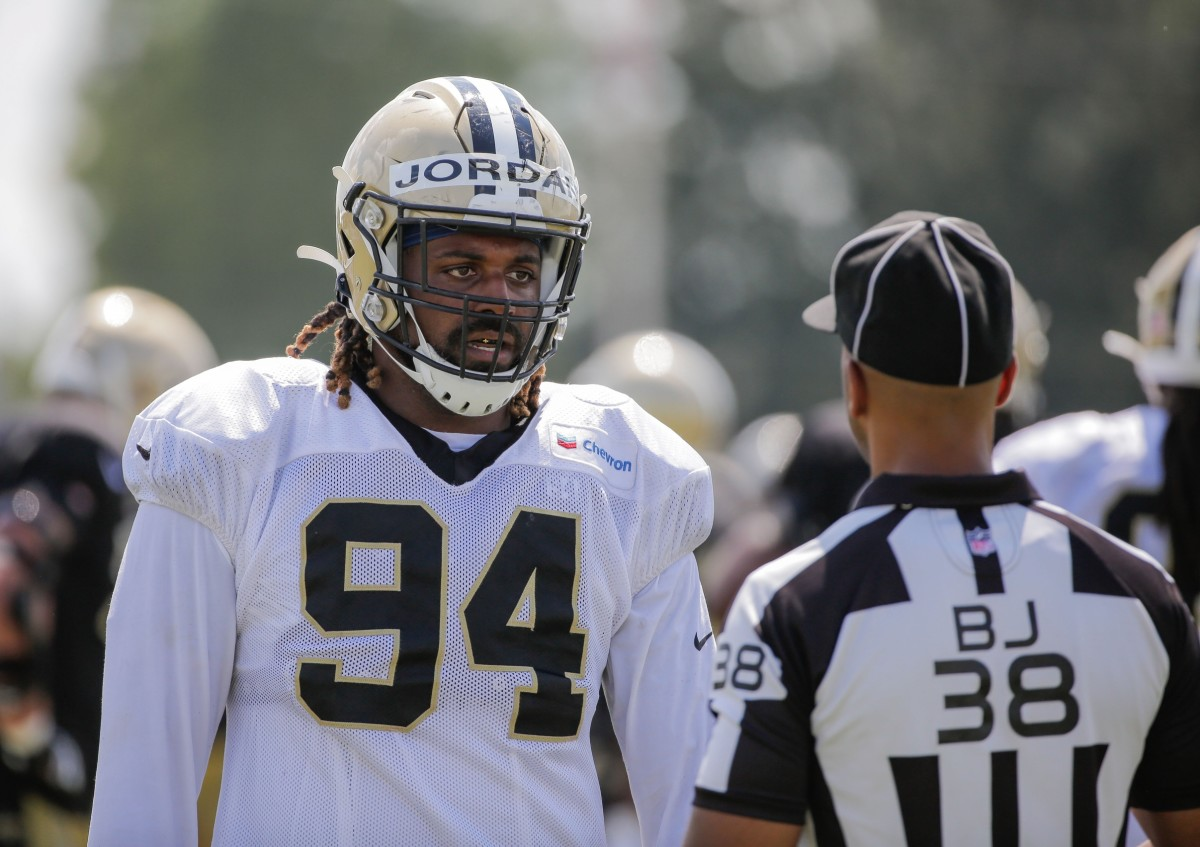 Aug, 3, 2019; Metairie, LA, USA; New Orleans Saints defensive end Cameron Jordan (94) talks to an official during training camp practice at the Ochsner Sports Performance Center. Mandatory Credit: Derick E. Hingle-USA TODAY Sports