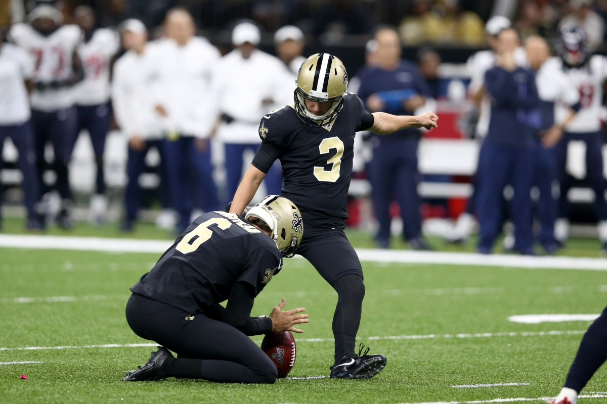 Sep 9, 2019; New Orleans, LA, USA; New Orleans Saints kicker Wil Lutz (3) attempts a field goal from the hold of punter Thomas Morstead (6) in the second half against the Houston Texans at the Mercedes-Benz Superdome. Mandatory Credit: Chuck Cook-USA TODAY Sports