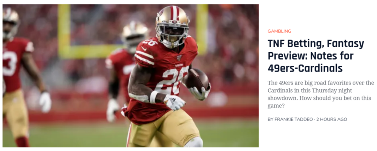 Niners-Cardinals Thursday Night Football Betting, Fantasy Preview