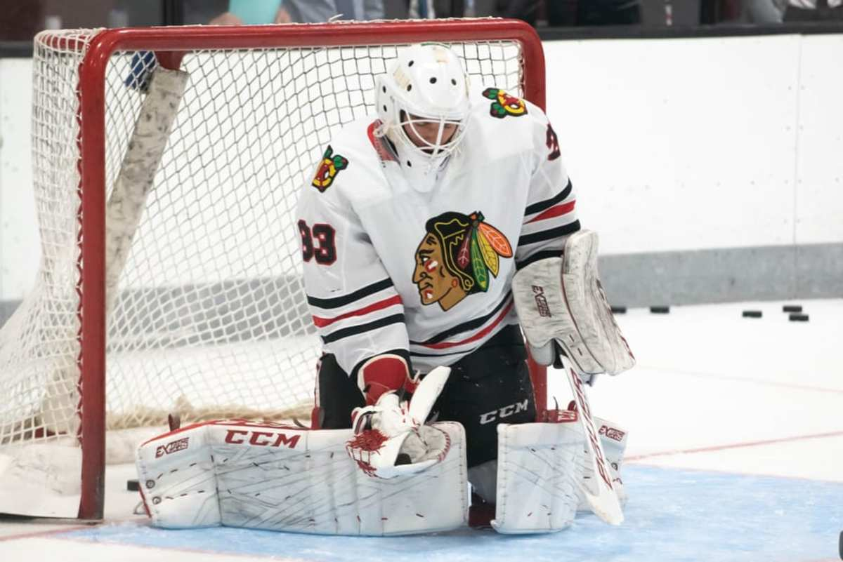 TRAVERSE CITY, MICH. – Chicago Blackhawks goaltender Alexis Gravel (#33) prior to a game between the Chicago Blackhawks and St. Loui Blues at Center Ice Arena on September 10, 2019. (Photo from Steven Ellis/The Hockey News)