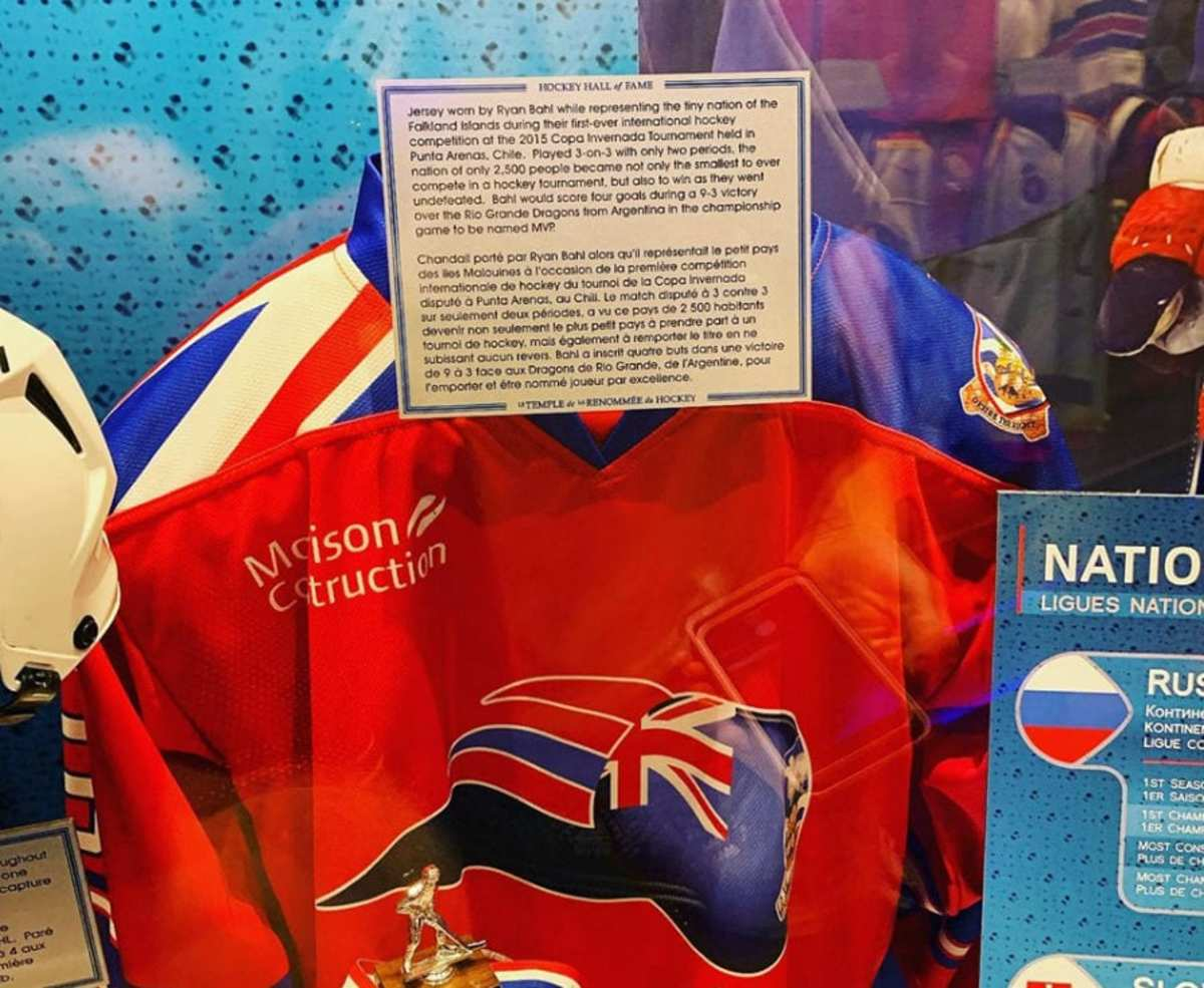 Ryan Bahl's jersey in the Hockey Hall of Fame. (Ryan Bahl)