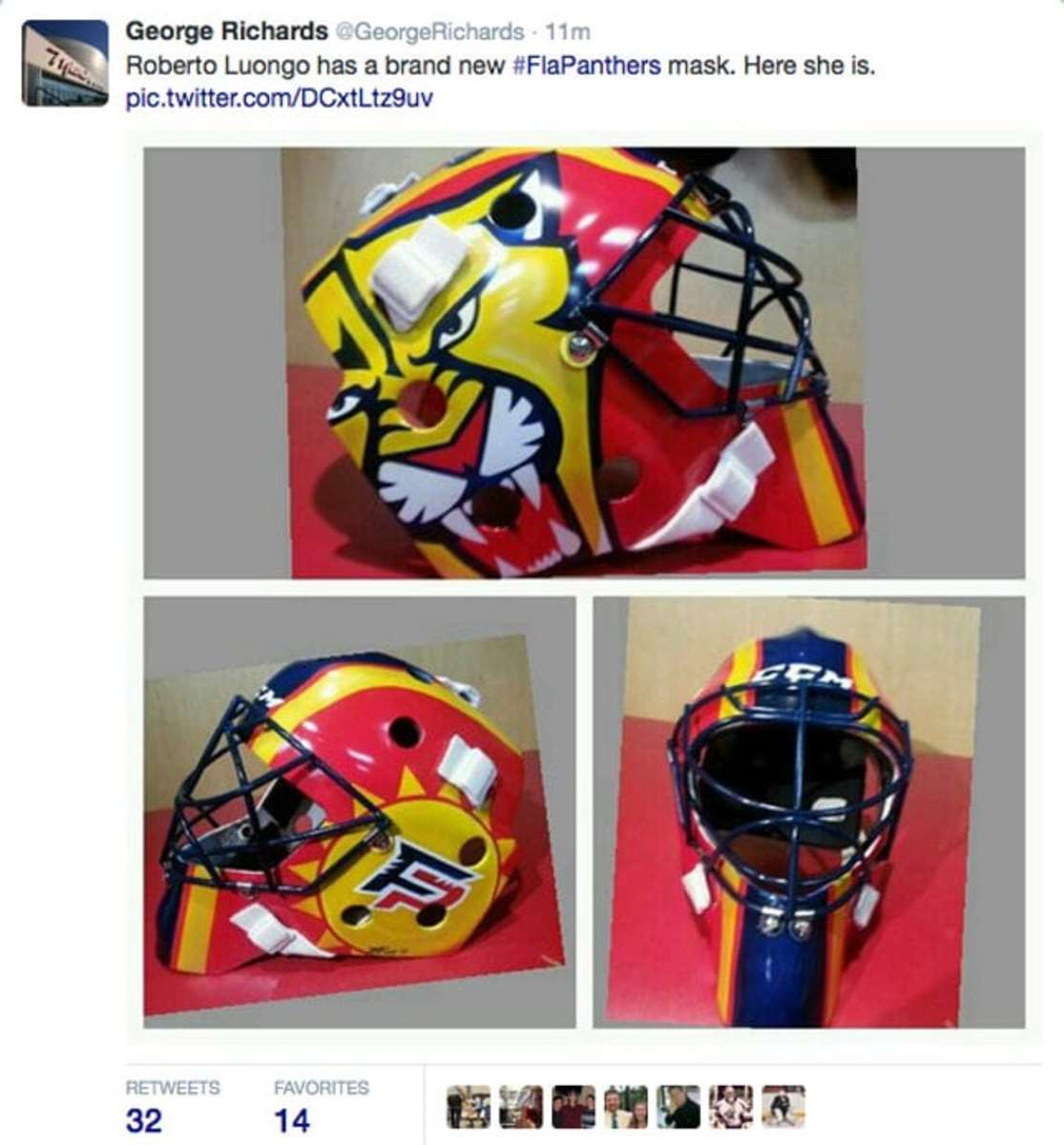 Roberto Luongo Has A New Mask What Do You Think Thehockeynews