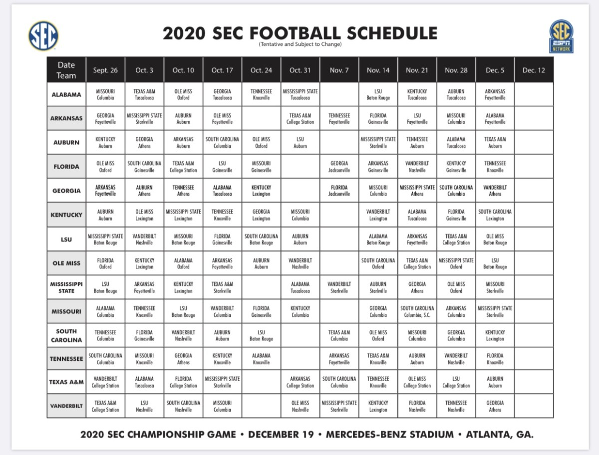 The Team-By-Team season schedules courtesy Southeastern Conference