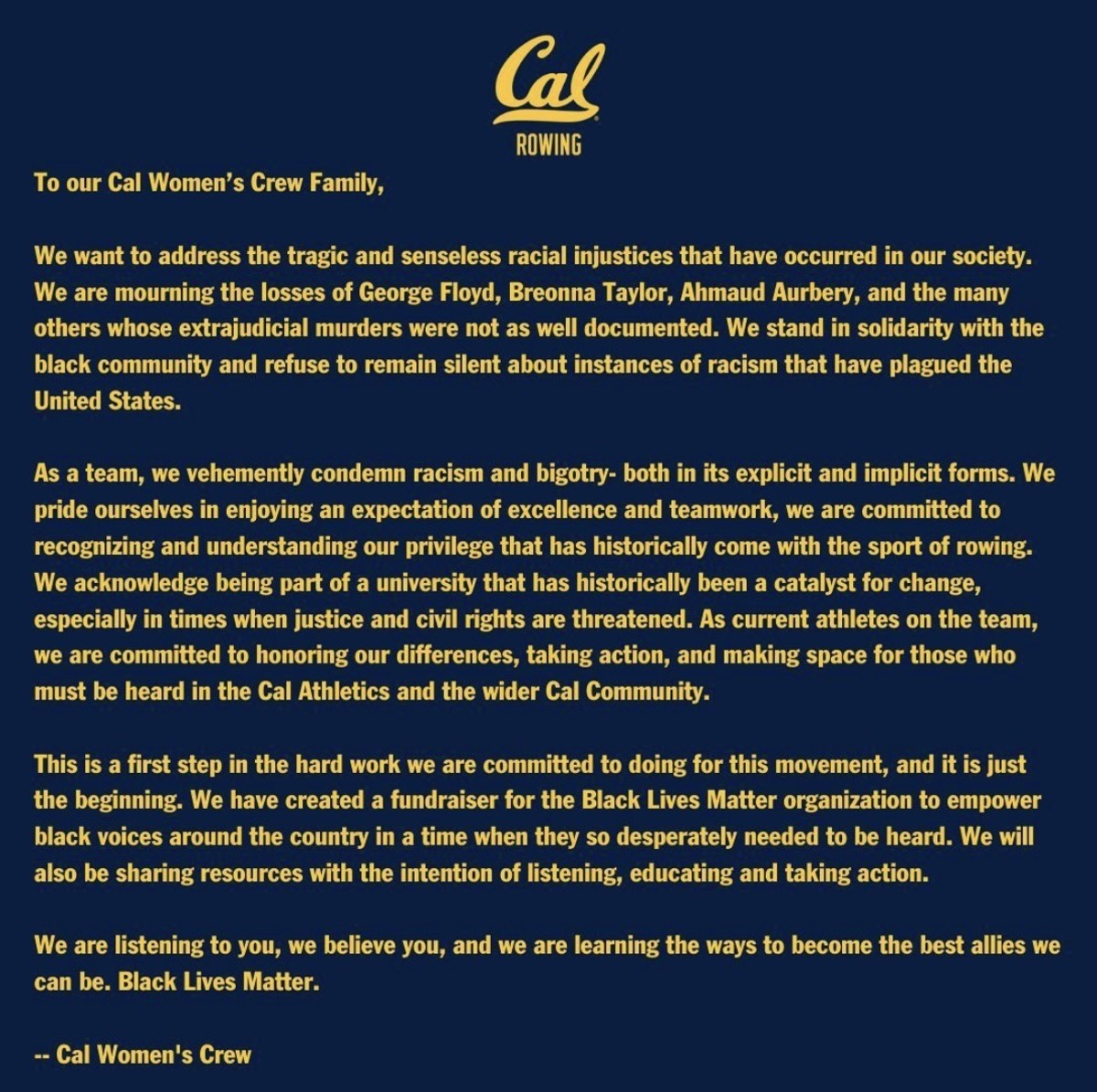 The Cal women's crew letter to their community
