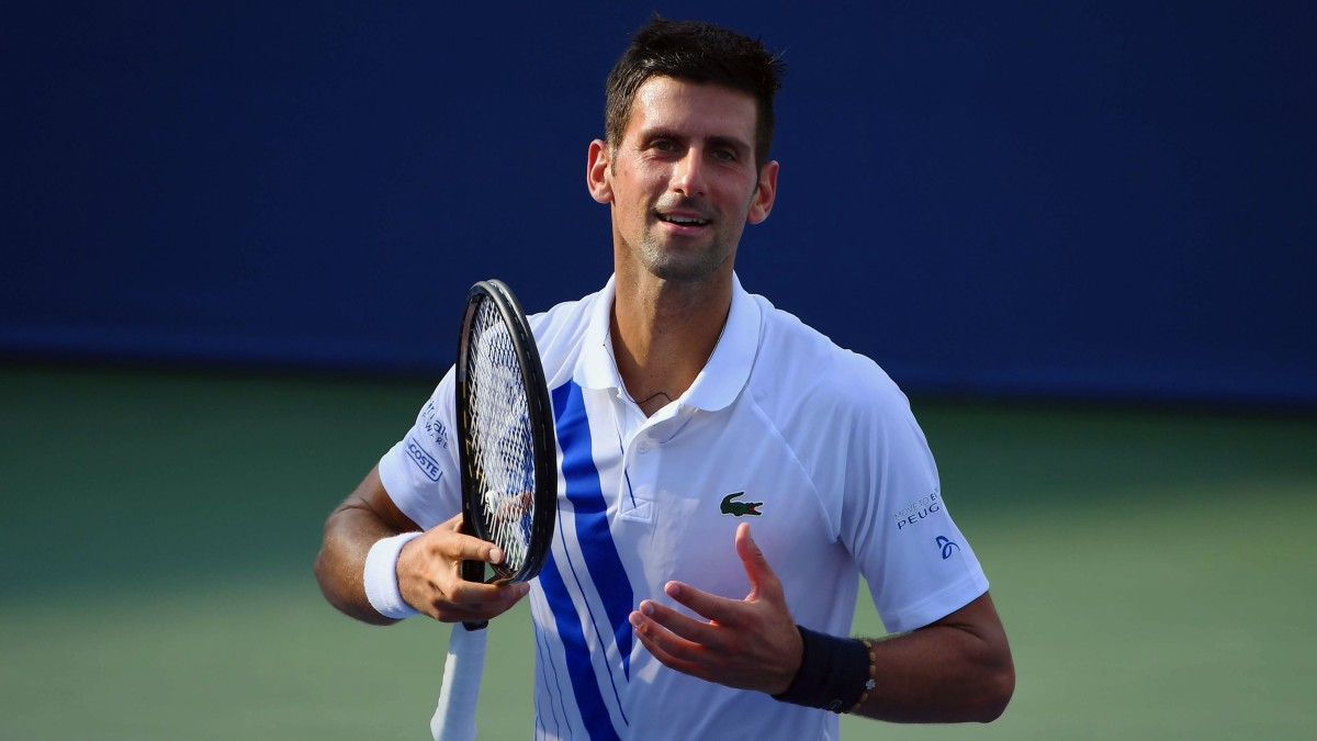 Novak Djokovic (SRB) reacts after defeating Tennys Sandgren (USA) during the Western & Southern Open at the USTA Billie Jean King National Tennis Center.