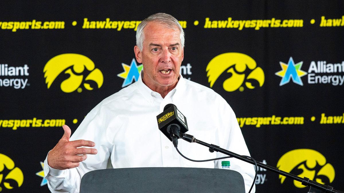 Iowa AD Gary Barta speaks to the media