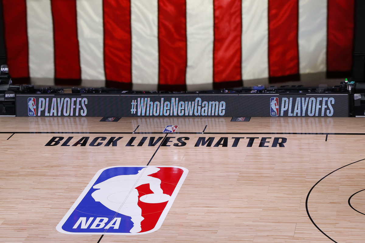 An empty court and bench is shown following the scheduled start time in Game Five of the Eastern Conference First Round between the Milwaukee Bucks and the Orlando Magic during the 2020 NBA Playoffs
