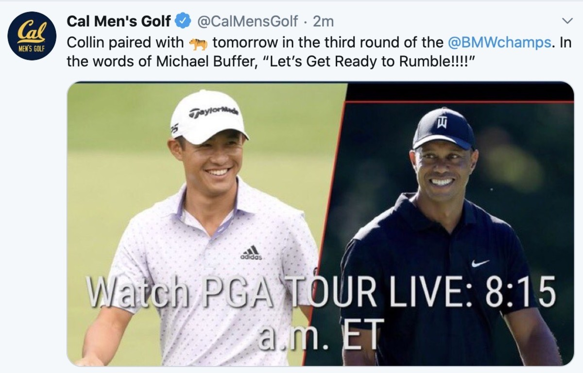 Collin Morikawa will be paired Saturday morning with Tiger Woods