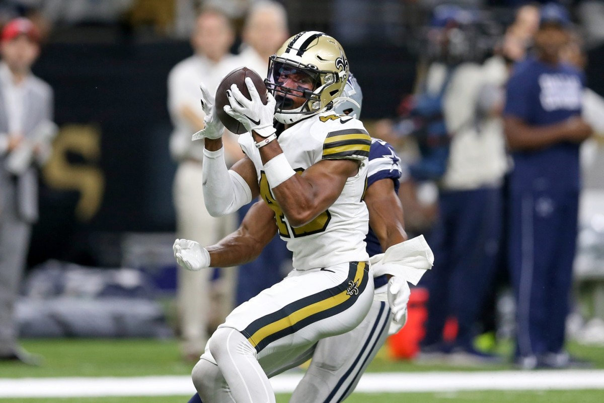 Sep 29, 2019; New Orleans, LA, USA; New Orleans Saints free safety Marcus Williams (43) makes a game ending interception against the Dallas Cowboys in the second half at the Mercedes-Benz Superdome. Mandatory Credit: Chuck Cook-USA TODAY