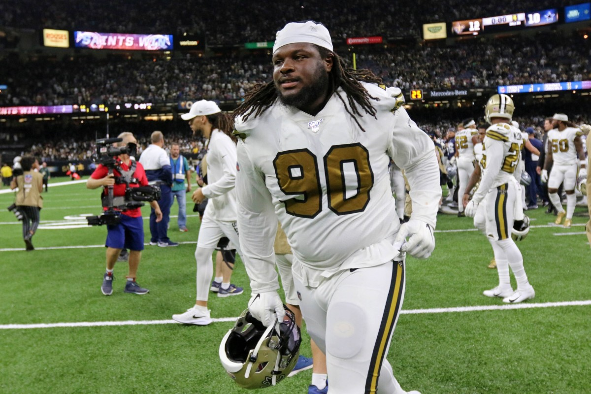 Sep 29, 2019; New Orleans, LA, USA; New Orleans Saints defensive tackle Malcom Brown (90) runs off the field after their win against the Dallas Cowboys at the Mercedes-Benz Superdome. Mandatory Credit: Chuck Cook-USA TODAY