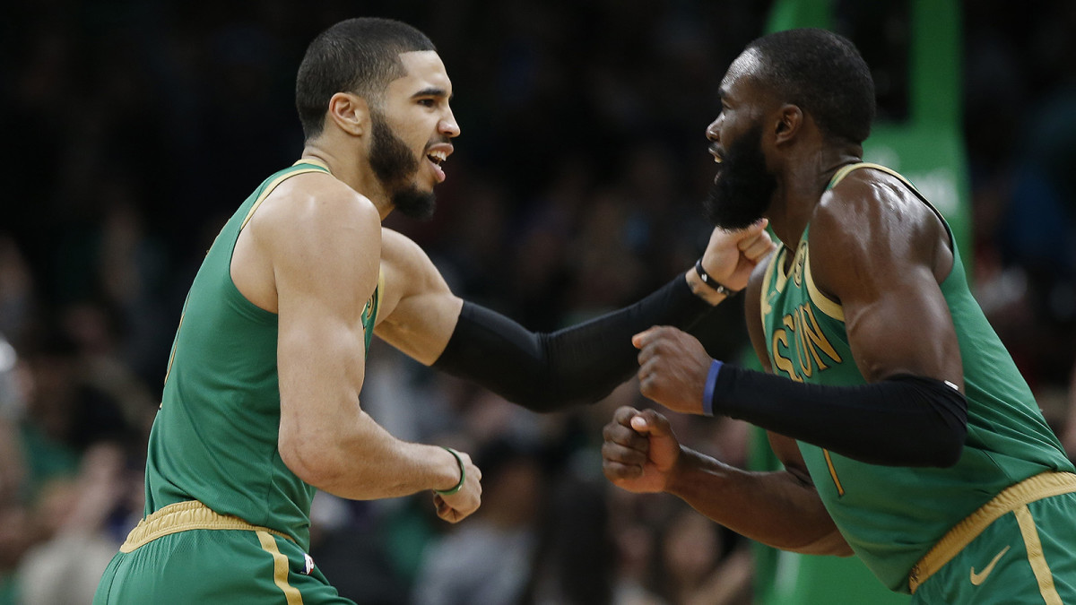 Jayson Tatum and Jaylen Brown of the Boston Celtics celebrate