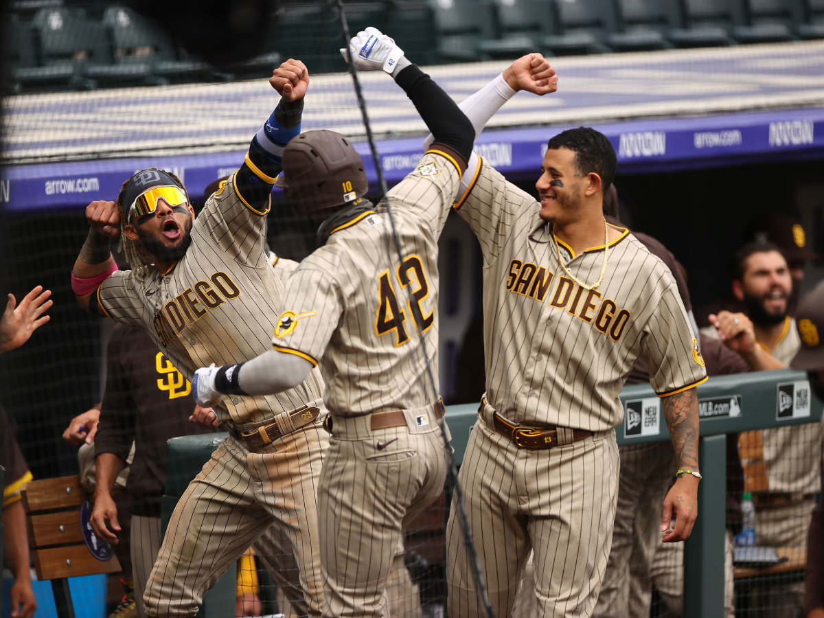 Three Padres celebrate