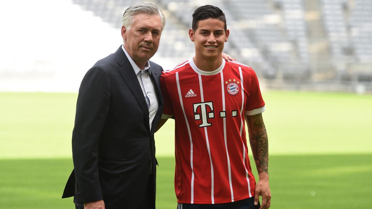 James Rodriguez and Carlo Ancelotti at Bayern Munich