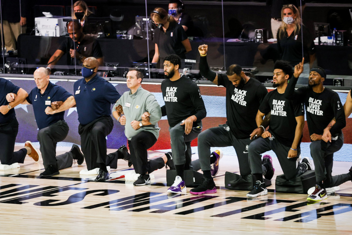 The NBA has largely supported its players' protests, including kneeling during the anthem.
