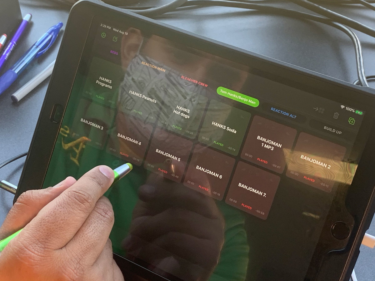 An iPad with sound selections on it