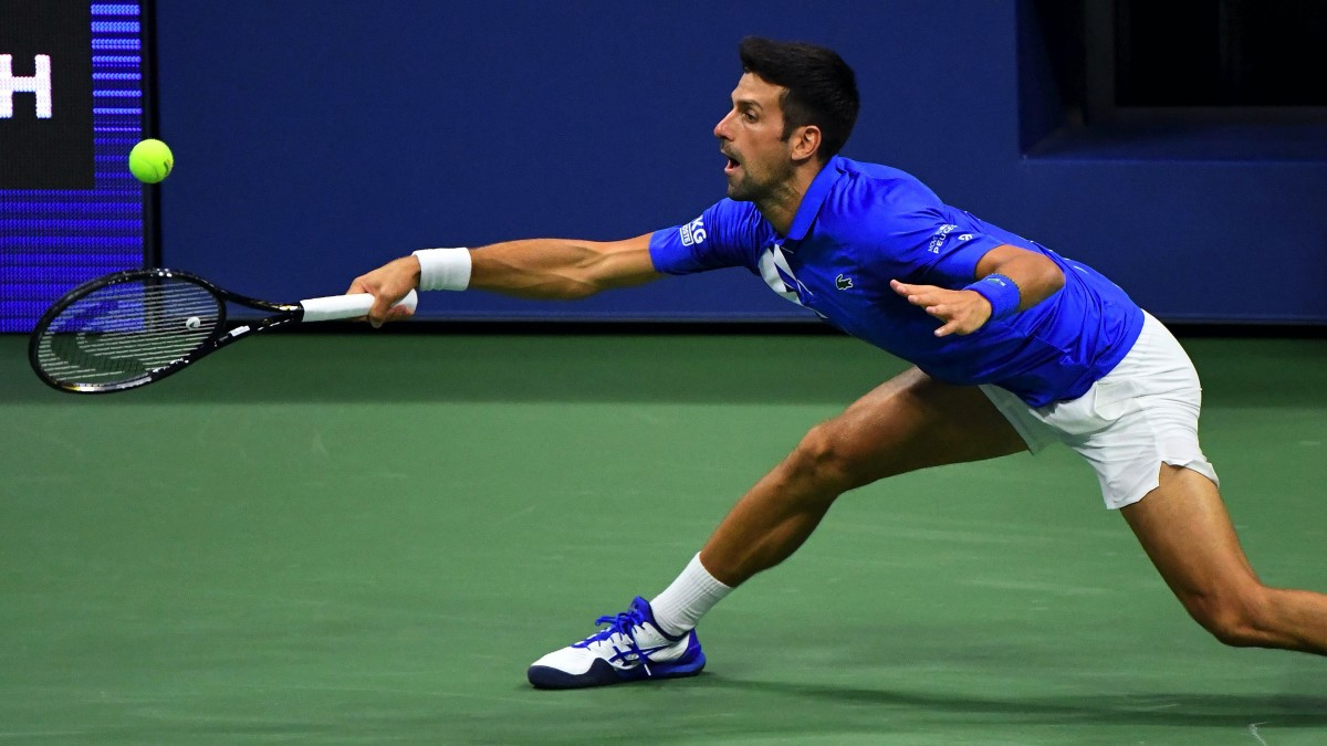 Novak Djokovic of Serbia hits the ball against Jan-Lennard Struff of Germany on day five of the 2020 U.S. Open tennis tournament at USTA Billie Jean King National Tennis Center.