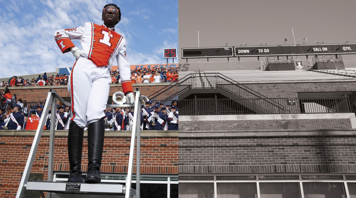 Illinois band director split with an empty view of the stadium