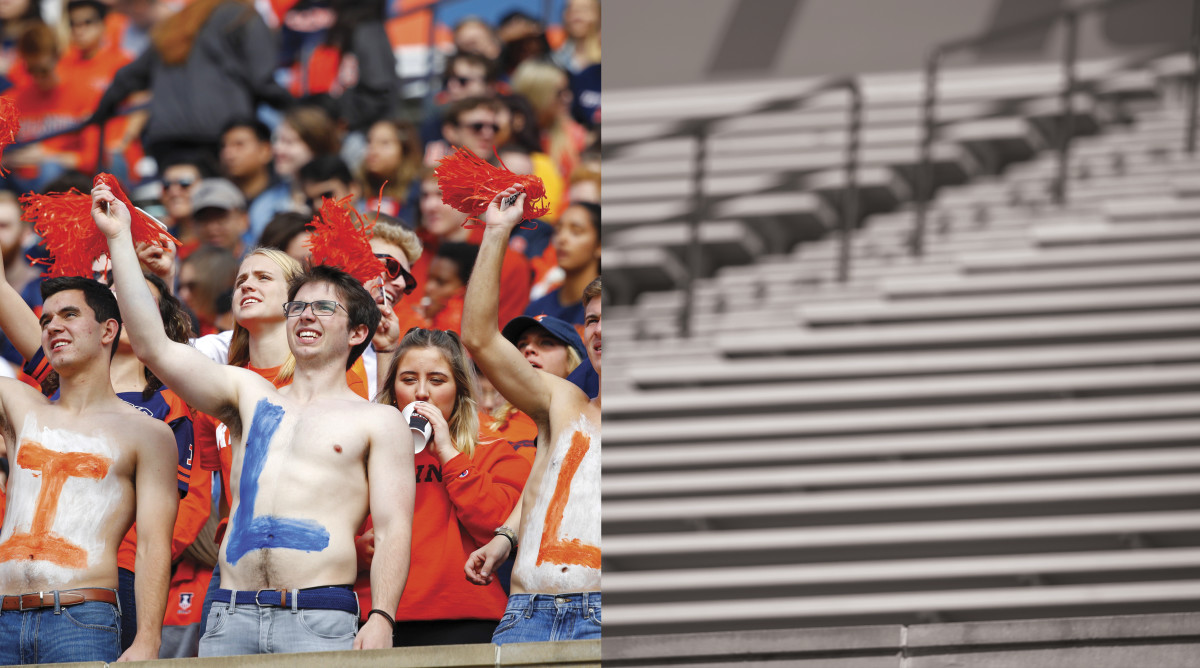 Illinois fans cheering in the stands split with empty stands