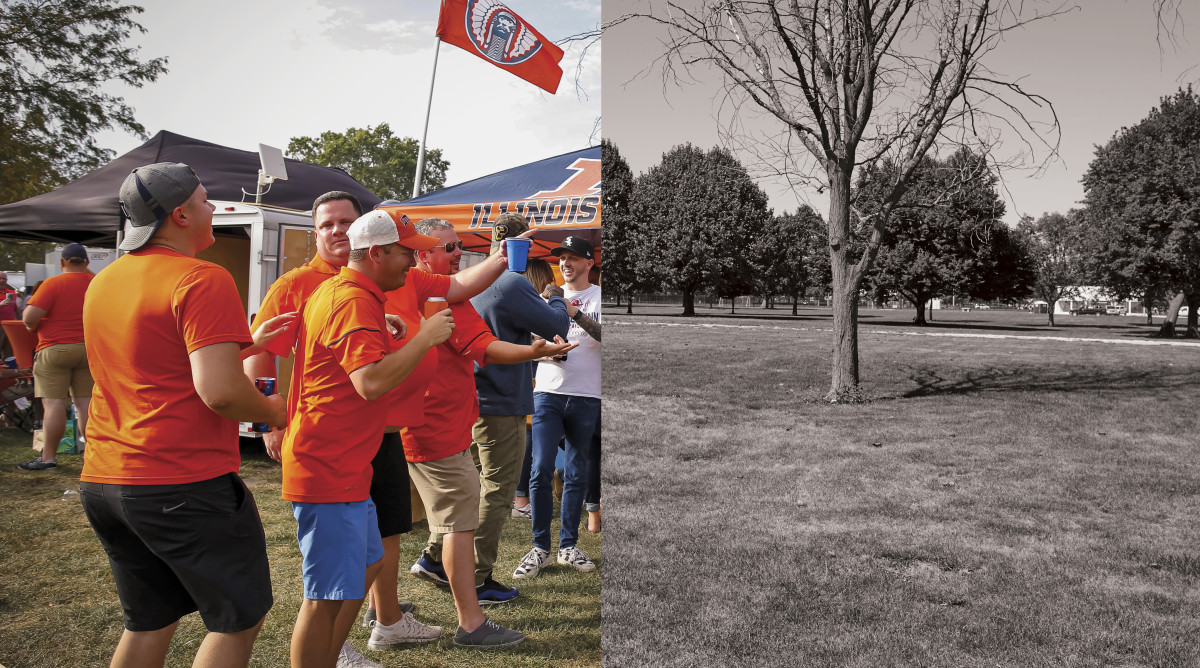 Illinois fans tailgating split with an empty tailgating field