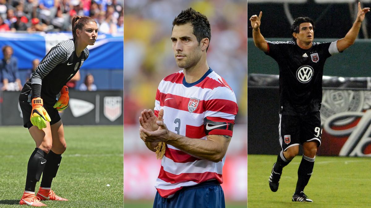 Soccer greats Hope Solo, Carlos Bocanegra and Jaime Moreno