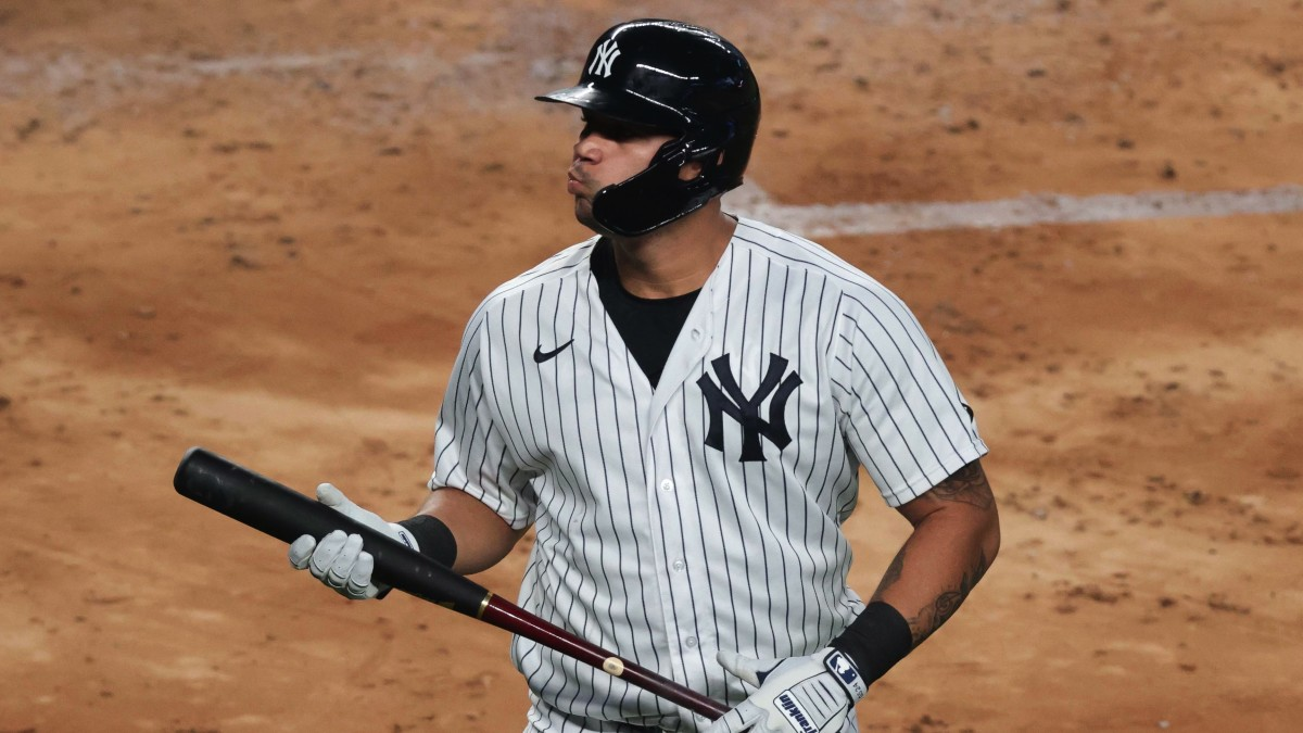 New York Yankees catcher Gary Sanchez (24) reacts after striking out during the third inning against the Boston Red Sox at Yankee Stadium.