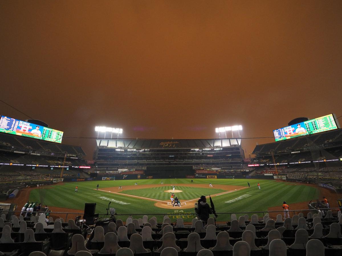 Smoke filled sky at Oakland Coliseum